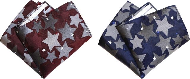 ポケットチーフ 星柄 赤 紺