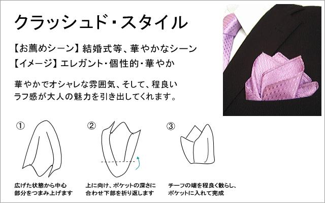 ポケットチーフの使い方・挿し方 クラッシュドスタイル
